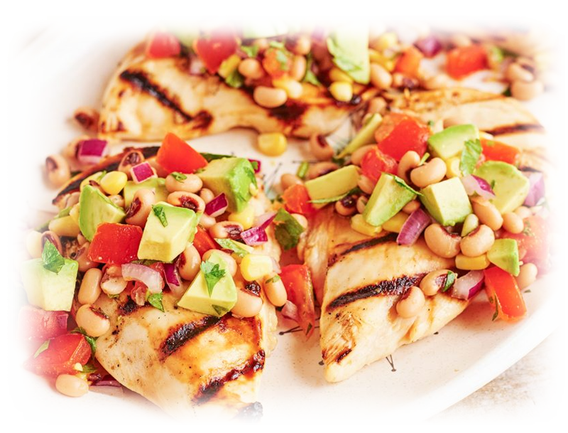 Honey Lime Chicken with Cowboy Caviar