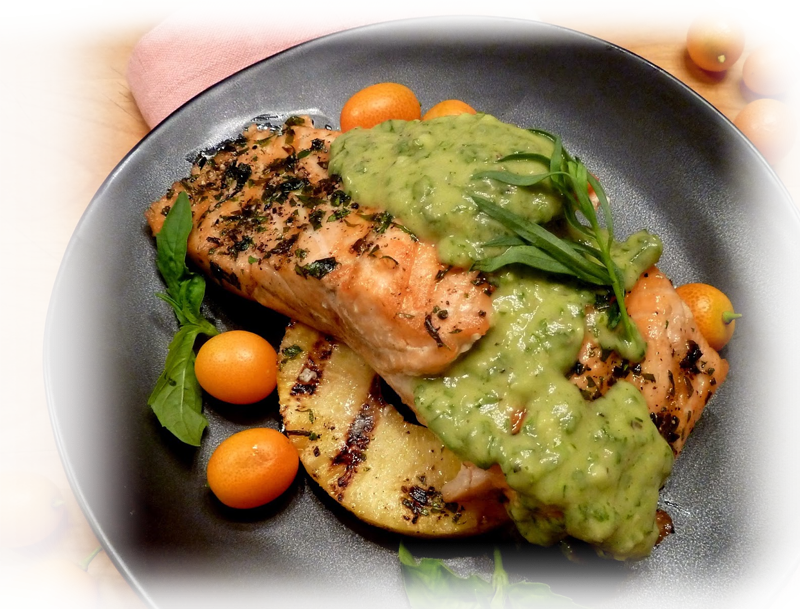 Salmon and Pineapple with Avocado Dressing